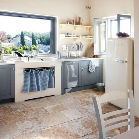 Image of lovely blue and grey kitchen in Villa Petra, Paxos
