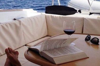 Wine on deck of boat