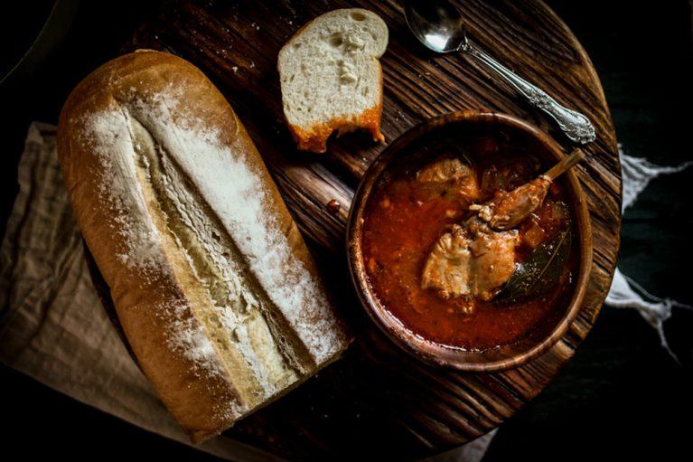 Rabbit stew with crusty sourdough