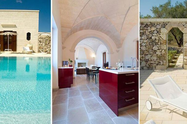 Three images of stunning villa in Italy, the pool with bright blue water, the red kitchen with vaulted ceiling and white sunbeds with beautiful stone wall behind with an archway leading through to the garden